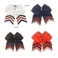 Wholesale Girls Ribbon Ponytail Hair Bow - 7 inches Girls Sequins Cheer Bows Mermaid Tail Ponytail Elastic Hairbands Children Hairbands Wholesale