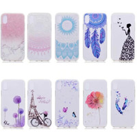 Wholesale Eiffel Iphone - Flower Marble Soft TPU Case For Iphone X 5.8inch Rock Stone Dreamcatcher Eiffel Tower Bike Paisley Mandala Henna Sexy Lady Cover