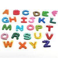 Wholesale Child Abc - Trustworthy 2015 Hot Sale New Kids Toys 26pcs set Wooden Cartoon Alphabet ABC~XYZ Magnets Child Educational Wooden Toy Gift