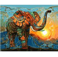 изображения панелей оптовых-В рамке Pure Handpainted Современный Abctract Животное Искусство Картина Маслом Слона, на Холсте Высокого Качества Для Домашнего Декора Multi размеры Бесплатная Доставка