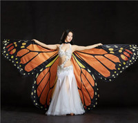Wholesale Egypt Wings - Kids Adult 360 Open Isis Wings Butterfly Cloak Stage Performance Prop Arabic Egypt Dance Costume Accessory Rainbow