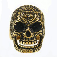 Wholesale Tribal Vintage Rings - STAINLESS STEEL punk vintage mens or womens JEWELRY GOLD PLATING TRIBAL FLOWER SKULL SIGNET RING MEDALLION RING BIKER RING 11W24