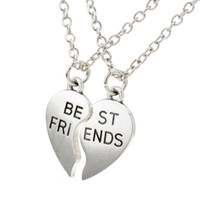 Wholesale Best Forever - New collier choker necklace heart pendant pieces broken two best friend friendship forever women necklace jewelry collares mujer