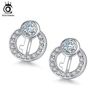 Wholesale Sterling Silver Key Earrings - New 925 Sterling Silver Women Small Earrings Fashion Key Design Luxury Crystal Stud Earrings Wholesale SE09