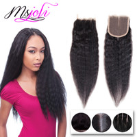 Wholesale Hair Top Closure 4x4 - Virgin Brazilian Human Hair Weaves Closure 4x4 Lace Top Closure With Three Parts Natural Black Kinky Straight 8-22 Inches From MsJoli