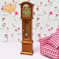 Wholesale Rement Miniature - G05-X4636 children baby gift Toy 1:12 Dollhouse mini Furniture Miniature rement wooden retro style Grandfather Clock 1pcs