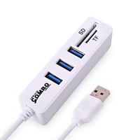 leitor de porta usb mini venda por atacado-Mini USB Combo Multi Hub USB 2.0 3 Portas + Leitor de Cartão Portátil Hub USB Splitter Tudo Em Um Para SD / TF Para Acessórios de Computador