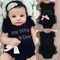 Wholesale Kids Lycra Bodysuit - Summer Fashion onepiece Kids Baby Girl Embroidered My Little Lace Sleeveless Black Dress Bodysuit Sunsuit Jumpsuit Onesie Romper 0-24Month