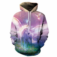 Wholesale Girl 3d Painting - 2017 new good manufacture wholesale hoodies 3D print flying horse horn unicorn all kinds of painting hoody boys girls unisex sweatshirt