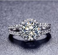 venda de anel de diamante banhado a ouro venda por atacado-Novo Estilo de Venda Quente Banhado A Ouro 2 Karat 8mm SONA Simulado Anéis de Noivado de Diamante Anel Para As Mulheres Frete Grátis