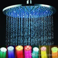 "Wholesale Glass Led Shower Heads - Wholesale New 7 colors 8"" Glass Rainfall Round Bathroom Shower Head RGB LED Flash Light Free Shipping"