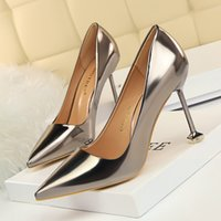 Wholesale Bronze Bling - Woman Shoes Simple Bling Pointed Toe Pumps Patent Leather High Heels Sandals Slip on Slides Gold Sliver Black Champagne Bronze