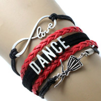 Bohemian black ballet dancer - Pieces Dance Bracelets Infinity Love Dancing Ballet Dancer Women Wrap Bracelets Hot Pink Black Pink Leather Gift