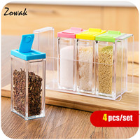 Wholesale Powdered Pepper - Wholesale- 4pcs lot Colorful Bottle Spice Jar Jars Cap Case Container Hole Material Spice Shaker Kitchen Sugar Powder Salt Pepper Seasoning