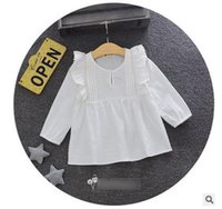 Wholesale Button Clothes Wholesale - Baby girls A-line dress Toddler kids falbala lace long sleeve dress girls cotton button front princess dress 2017 New Autumn clothes G0707