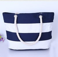 Wholesale Striped Tote Bags - Wholesale-Women Canvas Bag Single Shoulder Shopping Handbag Striped Beach Bag Women Shoulder Handbags Canvas Women Tote bags