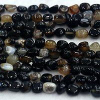 black pebble stone - Natural Genuine Black Agate Small Nugget Free Form Fillet Irregular Pebble Beads Fit Jewelry quot