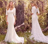 Wholesale Neckline Jewelry - New Gorgeous Full Lace Vintage Wedding Dresses Jewelry Neckline Half sleeve Pleats Mermaid Sweep Train Western Country Bridal Gowns Cheap