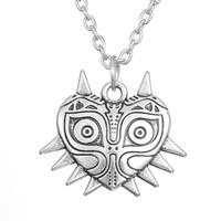 Pendant Necklaces pewter animals - comejewelry Majora Mask Pewter Legend of Zelda Luck Pendant Necklace Pagan Wiccan Jewelry Heart Rope or Link Necklace for Female