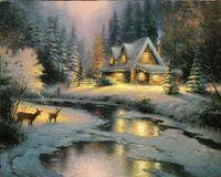 Wholesale Deer Art - Deer Creek Cottage Thomas Kinkade Oil Paintings Art Wall Modern HD Print On Canvas Decoration No Frame