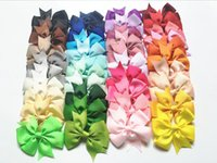 Wholesale Silk Hair Bows For Girls - Hot 40 Colors Baby Girl Hair Bows Pin for Kids Girls Children Hair Accessories with Clips Flower Hair Clip DHL Free Shipping