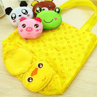 Novo Reusável Cute Animal Cartoon Portable Lovely Folding Eco Shopping impermeável saco de viagem malha Tote Bolsa ZA3537