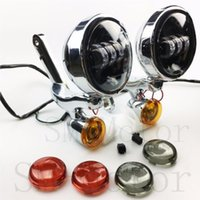 Wholesale Led Turning Signals Motorcycle - Motorcycle accessories Auxiliary Turn Signal LED Spotlight Fog Light Bracket For Street Glide roadking