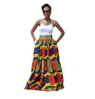 Wholesale High Ladies Skirt - Dashiki Skirt African Print Clothing 2017 Fashion Women Ankara Dashiki High Waist A Line Maxi Long Umbrella Skirt Ladies Jupe Longue Femme