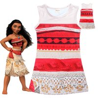 Wholesale Kids Tassels Clothes - Girls summer dress two-side printing Moana cute baby girls skirts children lace dresses kids beautiful clothing