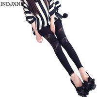Wholesale Charming Hot Sexy Girls - Wholesale- Leather Girl workout Leggings Hollow Hot Charming Warm Lace legins Sexy PU Leggins Skinny Stretch Black Splicing Pants
