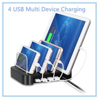 Wholesale Docking Station For Tablet - 4 Ports USB Hub Universal Multi Device Charging Station Fast Charger Docking 24W for iPhone iPad Samsung Galaxy LG Tablet PC HTC