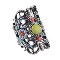 Wholesale Turquoise Costume Jewelry Sets - Flower Finger Rings Ethnic Style Antique Silver Color Hollow out Colorful Beads Women Rings Costume Jewelry Anel
