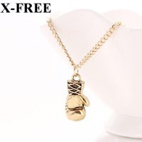 Wholesale Mini Boxing Gloves Wholesale - Wholesale-Fashion Lovely Mini Boxing Glove Necklaces & Pendants Jewelry Silver Gold Chain Cool Necklace Men Or Women Collier Gift N450