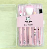 beauté en plastique achat en gros de-5 Pcs Kitty Maquillage Pinceau Set 30SET Cosmétiques kit Professional Trousse De Toilette appareils de beauté brosse Kit boîte en plastique rose Livraison gratuite