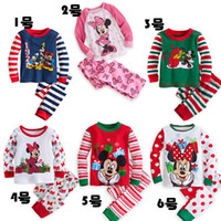 Wholesale Sleep Wear Girls - 6 color autumn winter warm mickey minnie Christmas unisex kid pajamas girl sleeping wear boy pyjamas cotton fashion cartoon clothes