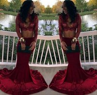Wholesale Pictures Crops - Burgundy Two Pieces Arabic Prom Dress 2017 Beaded Long Sleeve Sexy Keyhole Neck Crop Top Lace African Black Girls Formal Evening Gowns