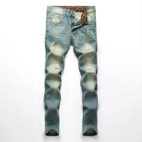 Wholesale Jeans For Men Wholesalers - Wholesale- Famous Brand Men Jeans Fashion fog Designer denim Blue Printed Pants For Male Trousers,button fly jeans men