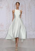 Wholesale Sleevless Wedding Dresses - tea length satin A-line wedding dresses 2017 Monique Lhuillier bridal jewel neckline sleevless zipper back wedding gowns