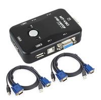 clavier kvm achat en gros de-Commutateur de commutateur de KVM d'USB de 2 ports SVGA VGA commutateur boîte avec des câbles pour le moniteur de clavier de souris de PC 1920 * 1440