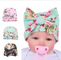 Wholesale Baby Big Flower Crochet Hat - Knit Baby hat Newborn Beanie Big bow 0-3months flowers print hat Maternity Boutique Accessories Winter warm European Autumn wholesale