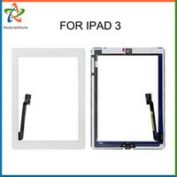 Wholesale Ipad Glue - For iPad 3 assembly Replacement With IC OEM Touch Glass Screen Digitizer Home Button 3M Adhesive Glue Tape Free DHL With Tools