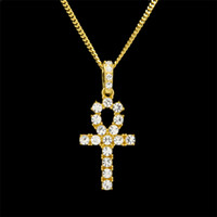 Wholesale Egypt Crystal - Hip Hop Gold Silver Ankh Egyptian Jewelry Pendant Bling Rhinestone Crystal Key To Life Egypt Cross Necklace Cuban Chain