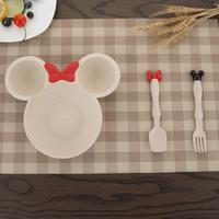 Wholesale Kitchen Utensils Baby - Kids Dinnerware Set Plates Spoon Fork Mickey Minnie Mouse Baby Dishes PP Multicolor Kitchen INS Popular Children Fashion Utensils New