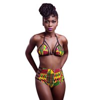 Wholesale Bath Two - 2017 New African Two-Pieces Bath Suits Bikini Set Sexy Geometric Swimwear Swimsuit And black High Waist Swimming Suit