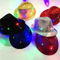 geführte cowboyhüte großhandel-Kinder LED Pailletten Hüte Bunte Cowboy Jazz Cap Blinkende Kinder Erwachsene Party Festival Cosplay Kostüm Hüte 6 Farben 150 Stücke