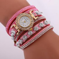 Wholesale long leather watch straps women - Fashion Gold Bracelet Watch Full Crystal Diamond Long Strap band Women Watches Luxury Ladies Watch Women Quartz watch Clock