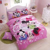 Wholesale Minnie Mouse Queen Comforter - Minnie And Mickey Bedding Sets Cotton Duvet Cover Set Minnie Mouse Bedding Bedlinen Single Size 3PCS