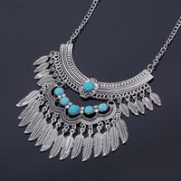 joyería bohemia turca gitana al por mayor-Collar de Collar de Nueva Llegada de Metal de Plata Cadena Antigua Gargantilla Turquesa Turco Gitano Bohemio Declaración Collares de Joyería de Moda para Las Mujeres
