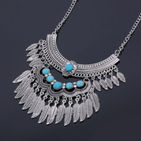 Wholesale Metal Collar Statement - New Arrival Collar Necklace Metal Silver Chain Antique Choker Turquoise Turkish Gypsy Bohemian Statement Necklaces Fashion Jewelry for Women