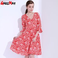 Wholesale Butterfly Robes - Red Dress Women vintage Floral Print Dress V Neck A Line Sexy Dress Summer Butterfly Sleeve Ladies Dresses Robes GAREMAY 1702
